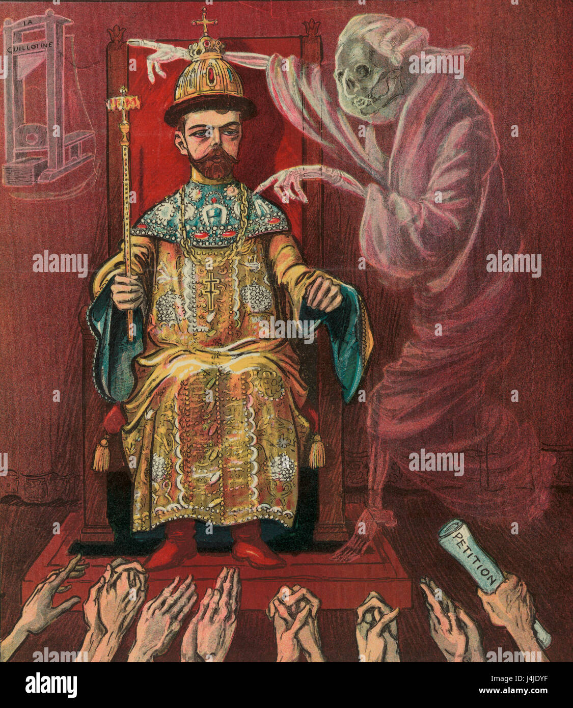 A voice from the past -  Illustration shows the ghost of Louis XVI of France warning Nicholas II of Russia to not - Stock Image