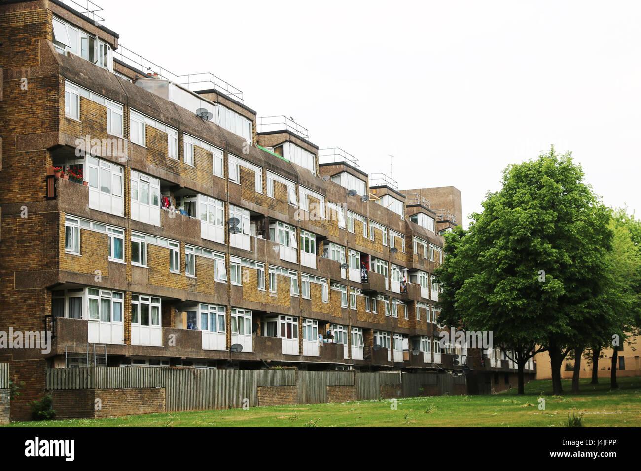 Council estate building east london - Stock Image