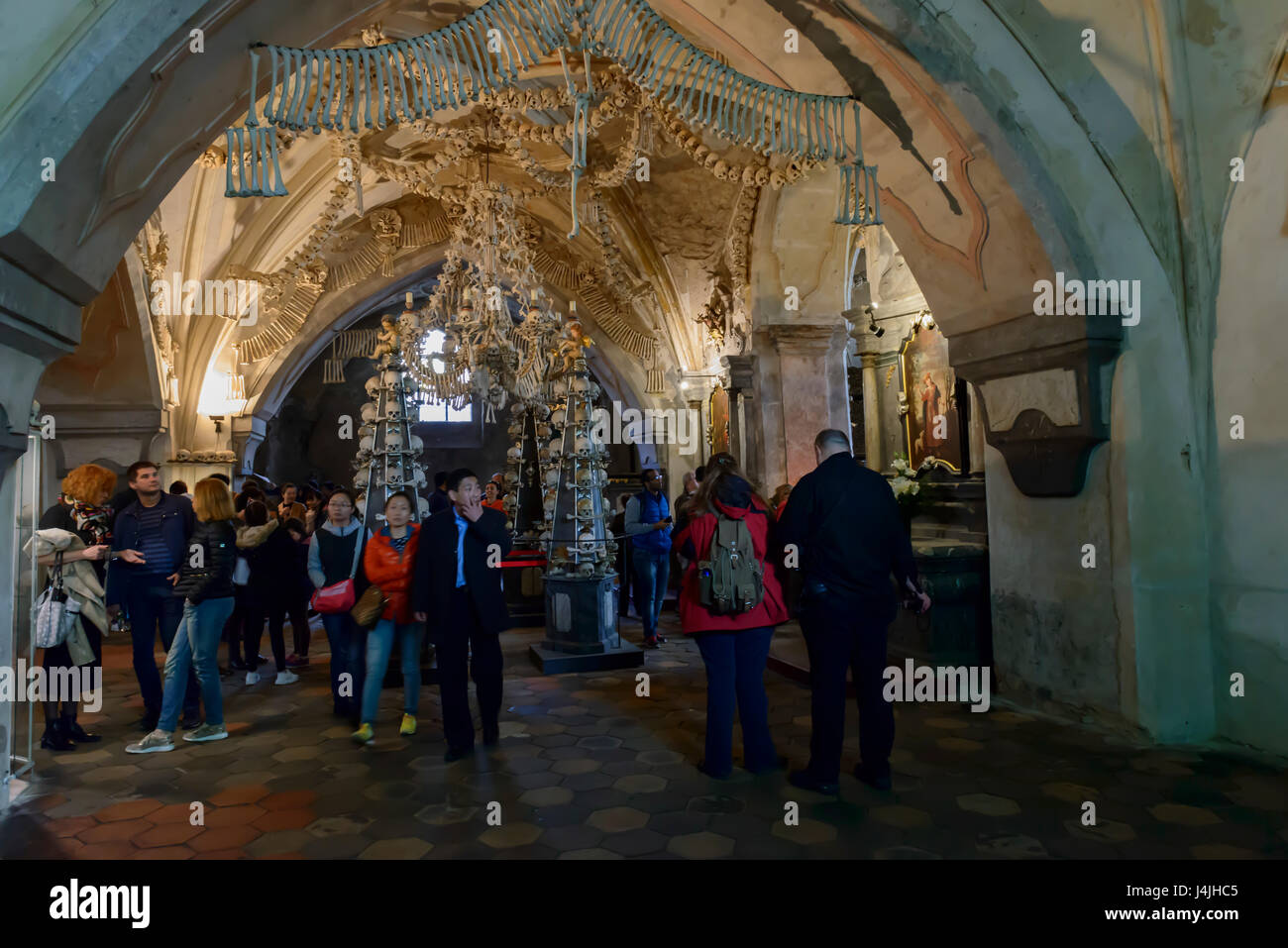 Decorations of human bones in the Sedlec ossuary in Kutna Hora. Czech Republic - Stock Image