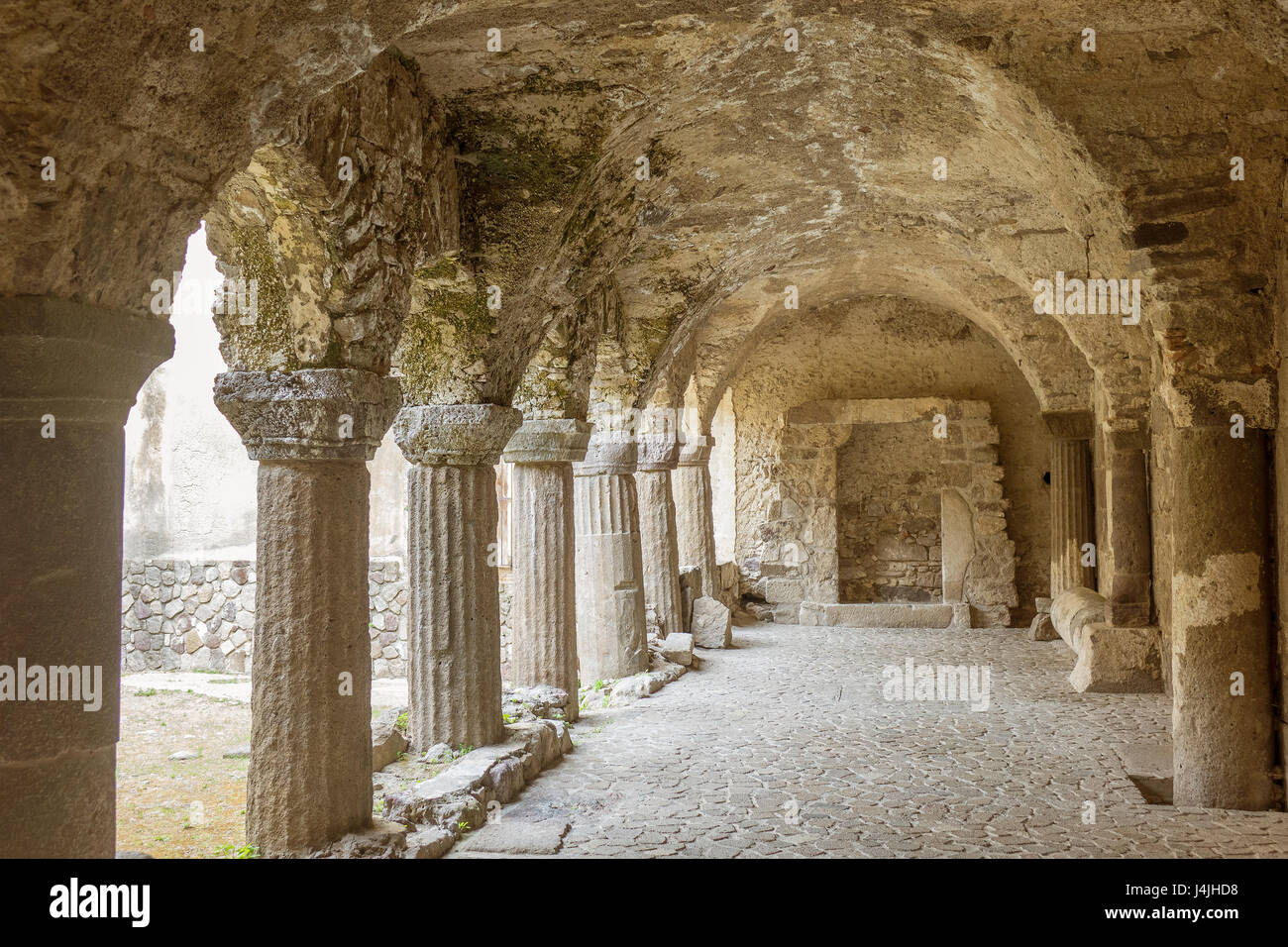 Italy, Aeolian Islands, Lipari, cathedral cloisters - Stock Image