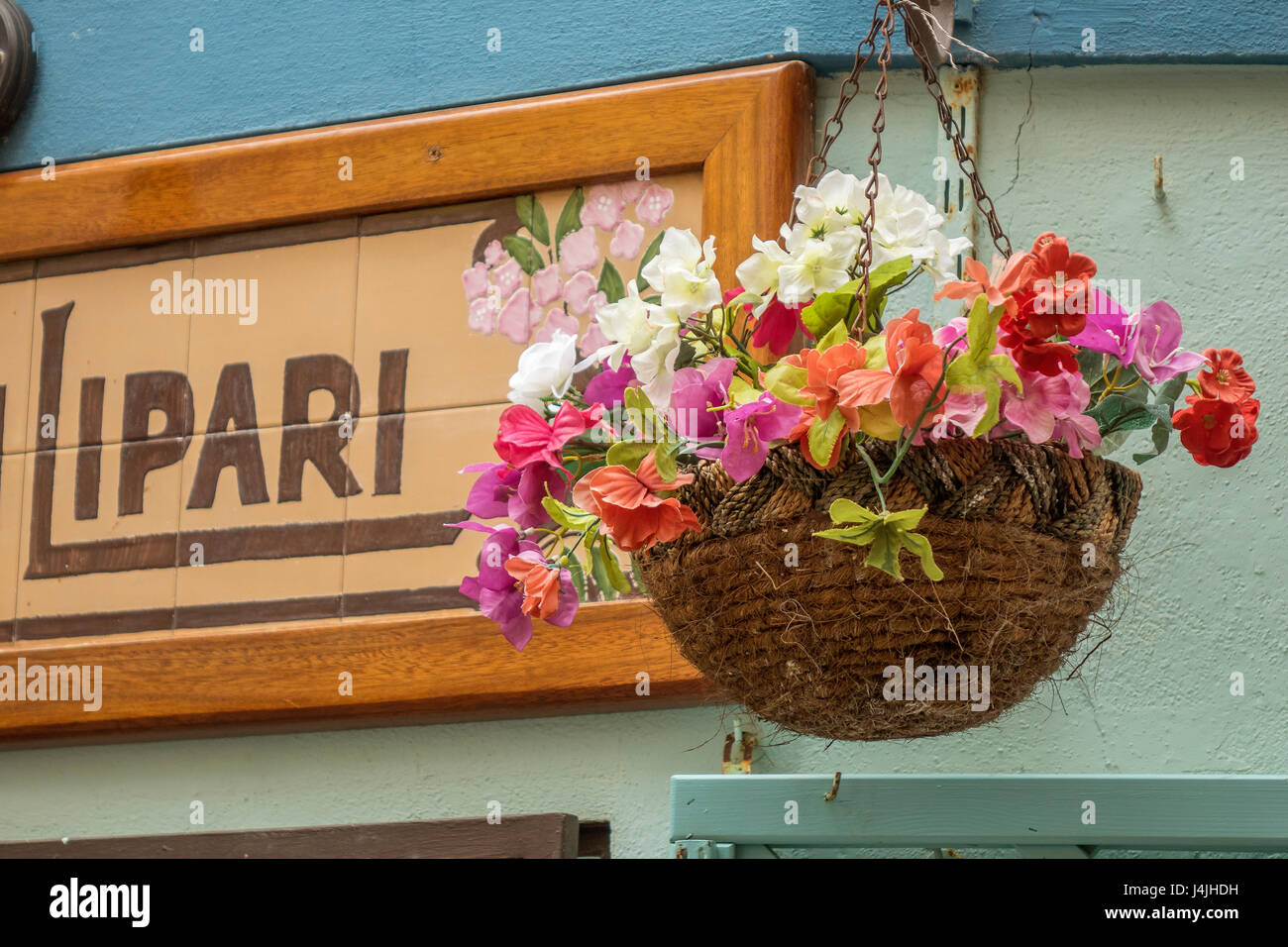 Italy, Aeolian Islands, Lipari, street flowers - Stock Image