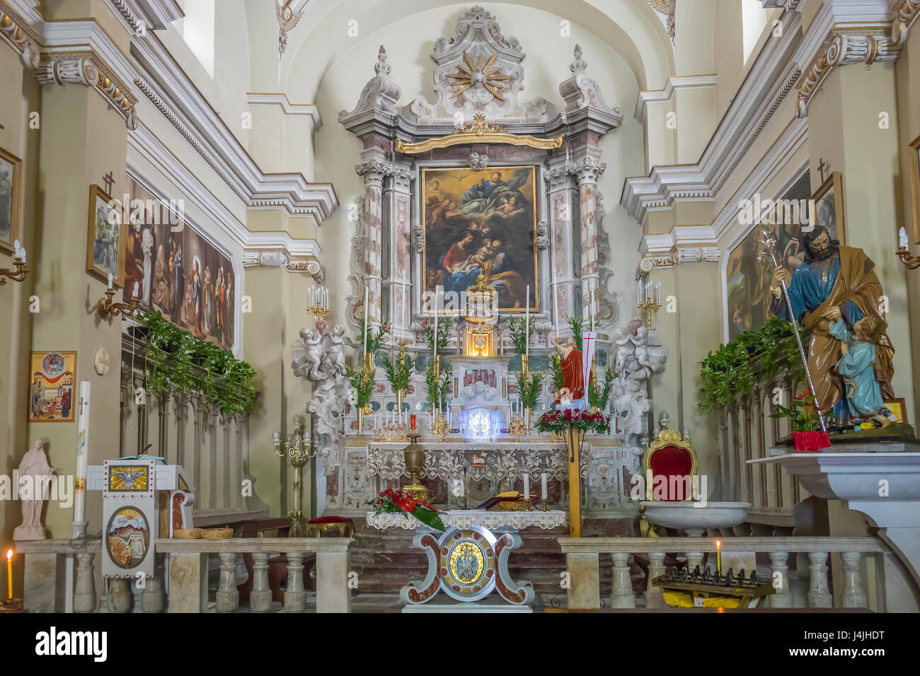 Italy, Aeolian Islands, Lipari, San Giuseppe church, interior - Stock Image
