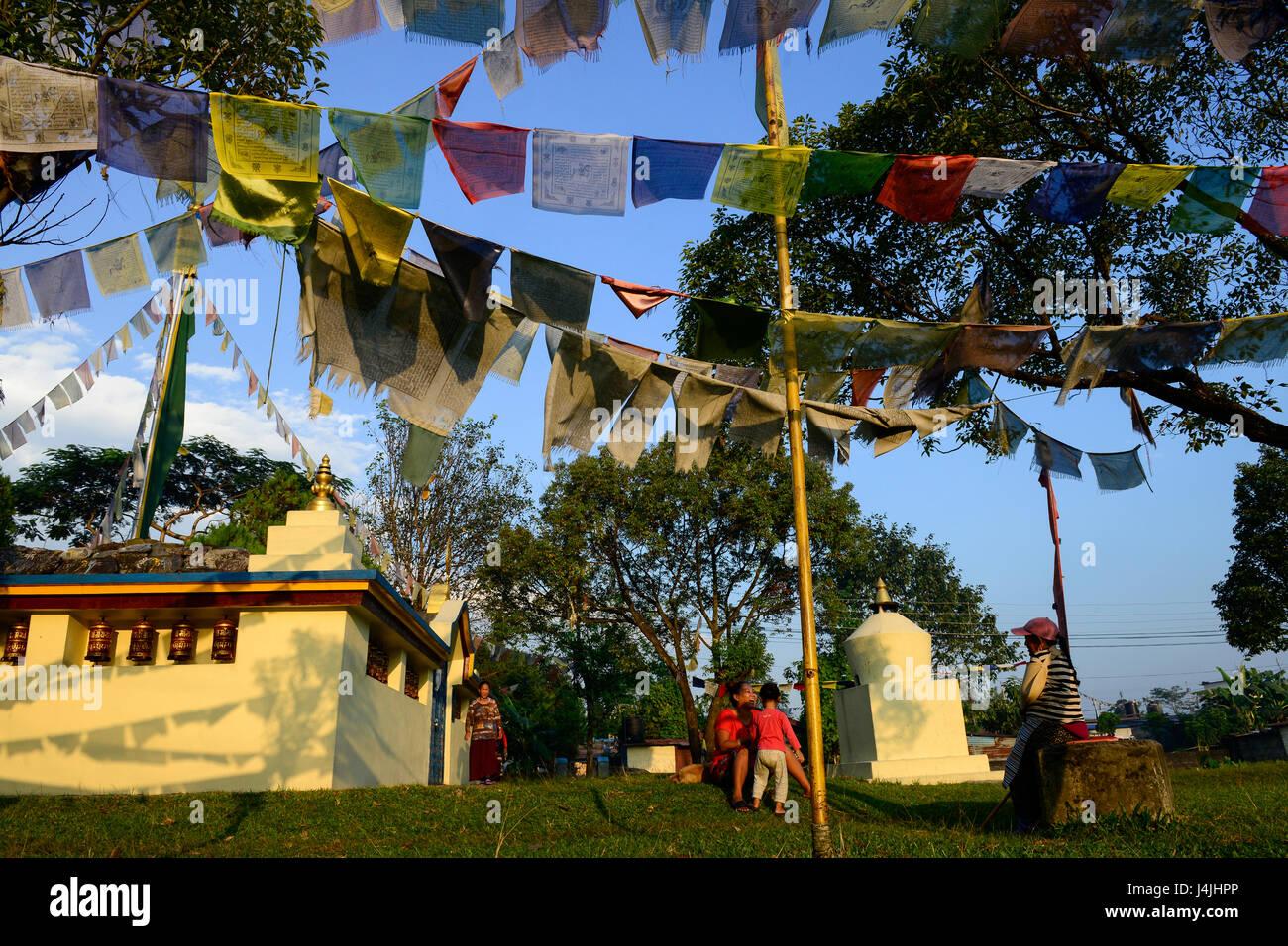 nepal pokhara tibetan refugee camp prithvi stupa with prayer