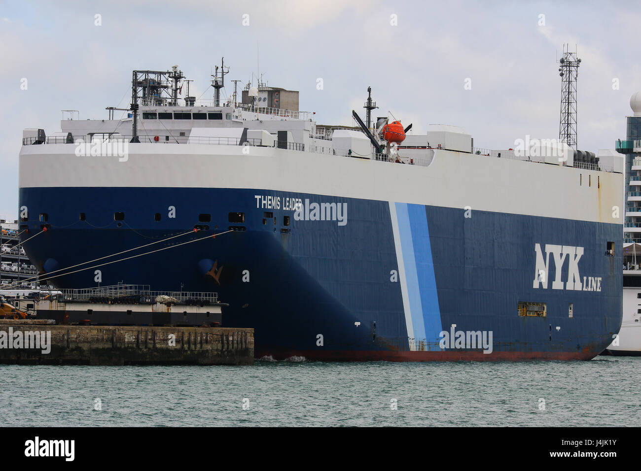 NYK Line vehicle carrier Themis Leader sits in Southampton Docks, UK - Stock Image