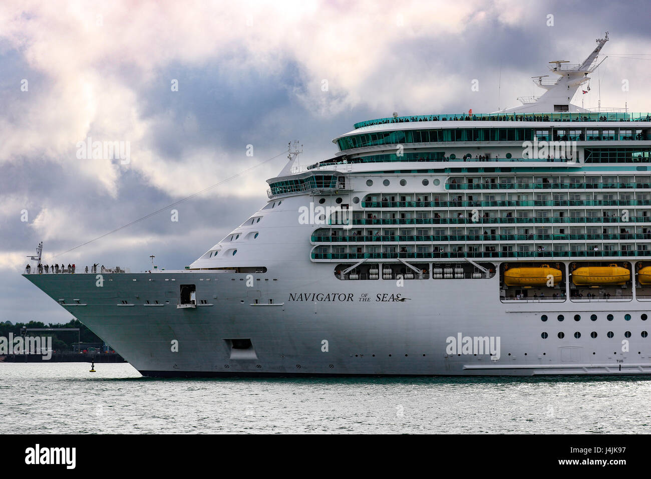 Royal Caribbean's MS Navigator of the Seas departs Southampton Port. - Stock Image