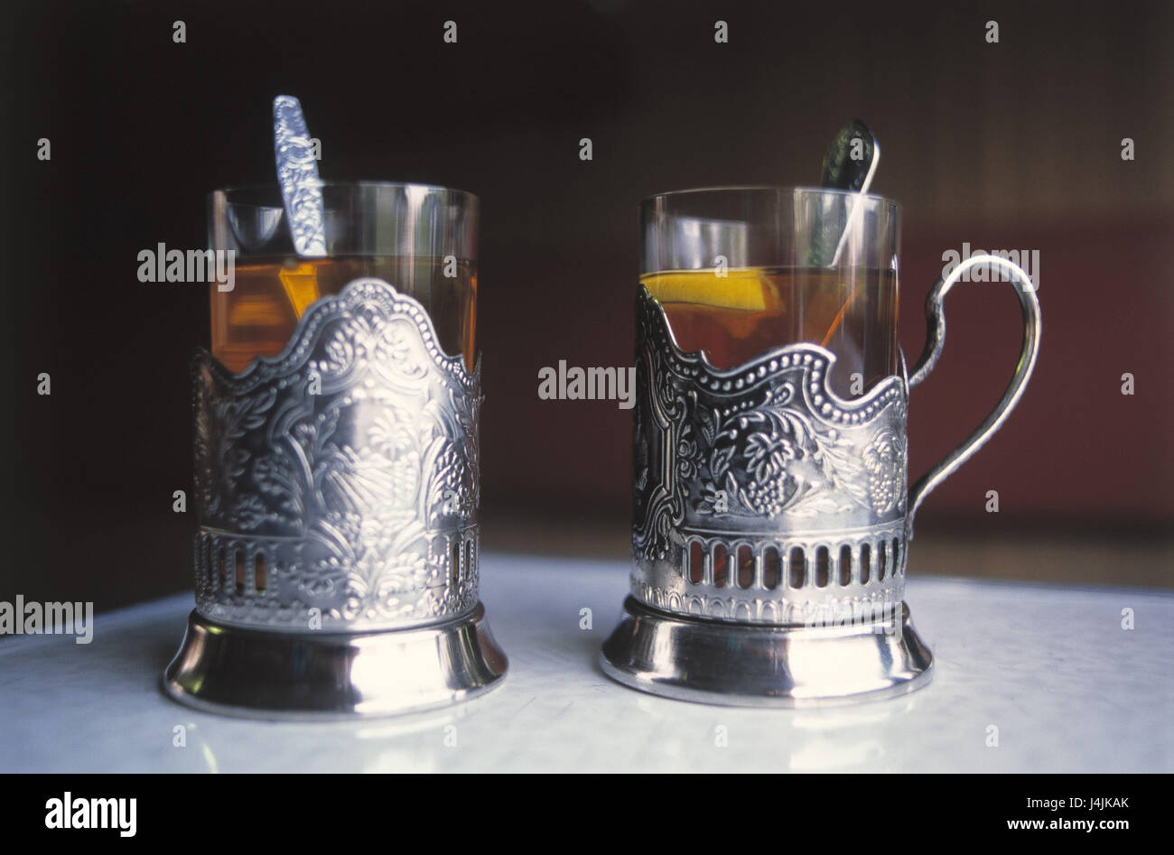 Russia, tea glasses, holders, silver CIS, tea, glasses, drinks, typically, tradition, thirst, dishes, teaspoon, - Stock Image