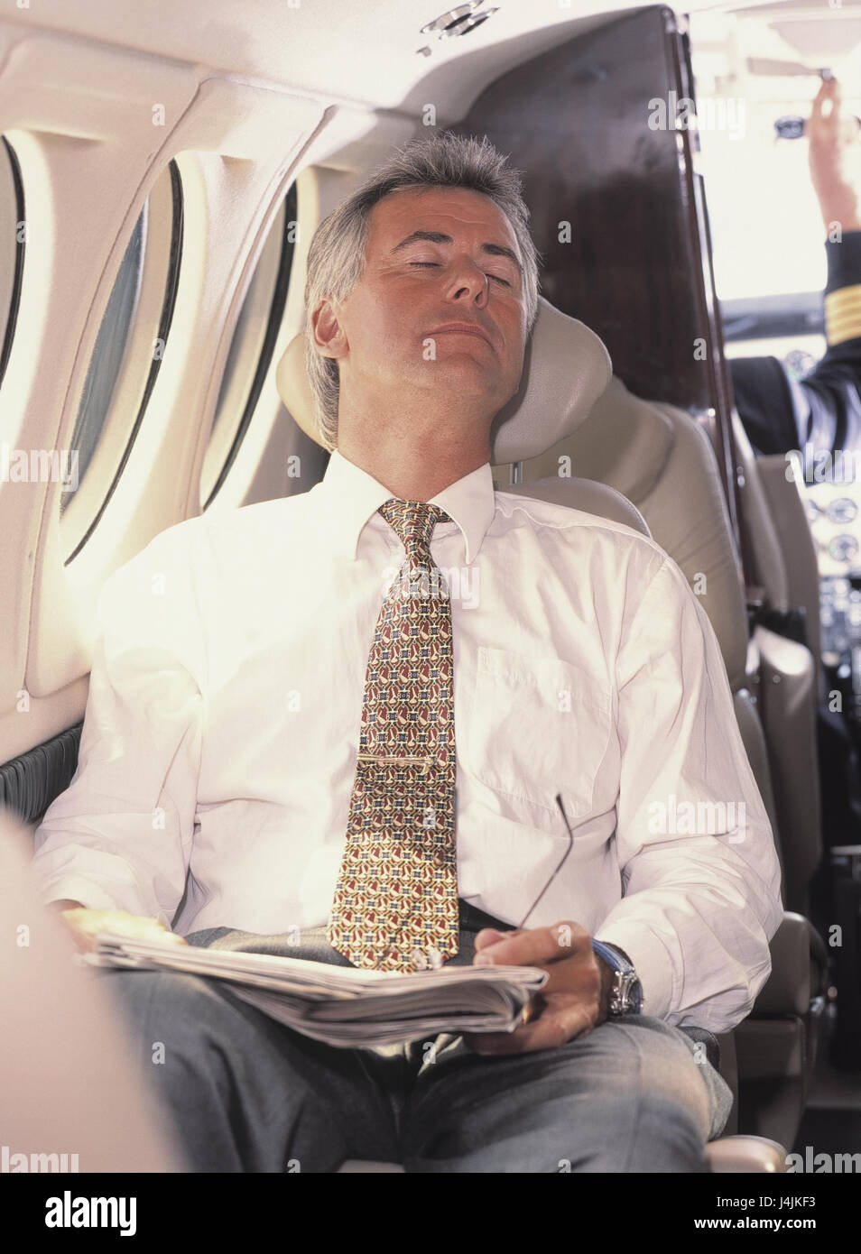 Airplane Man Middle Old Person Sit Sleep Inside Fly Travel