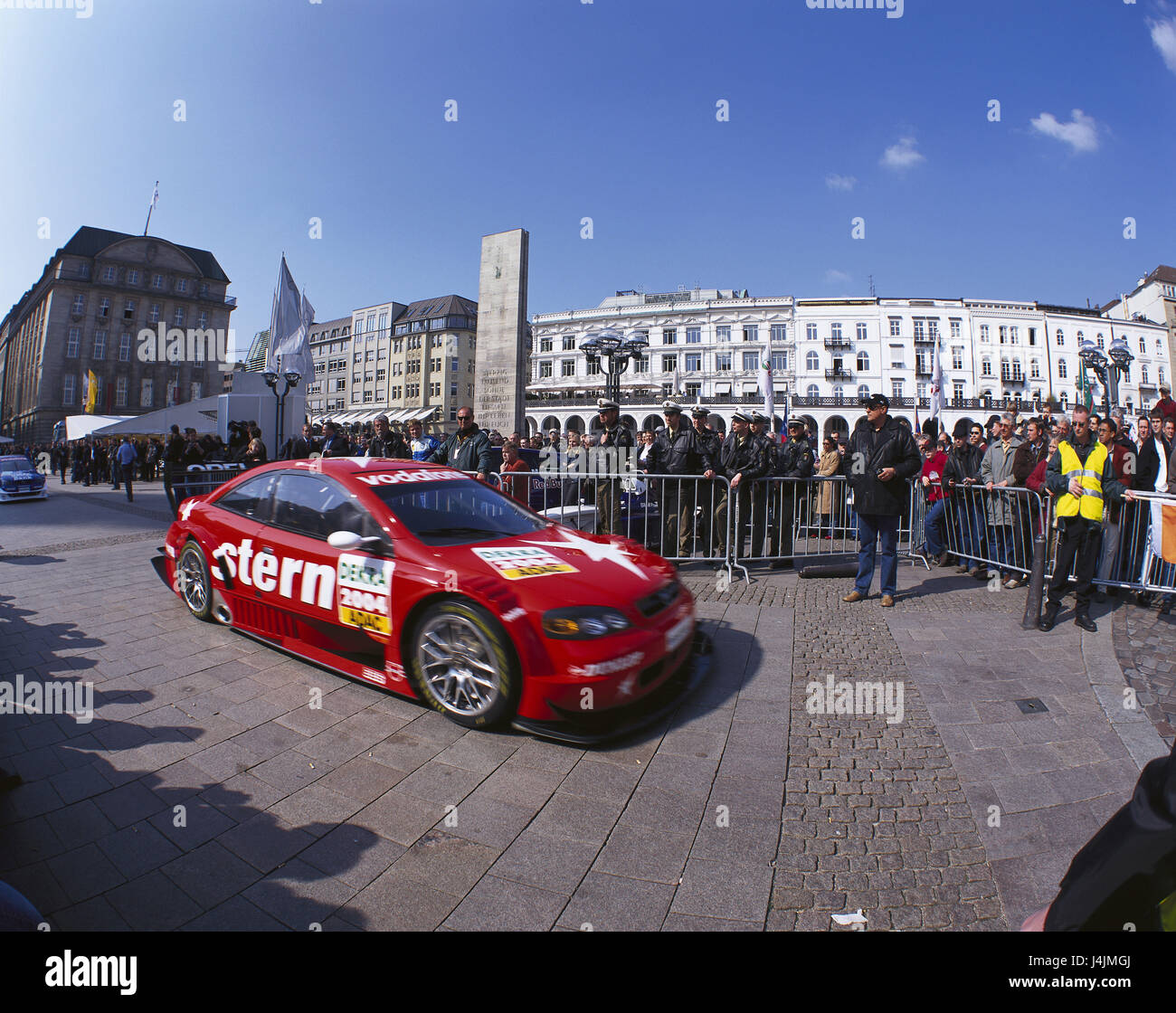 Germany, Hamburg, German 4-door convertibles championship, blocking, racing car, spectator Europe, North Germany, - Stock Image