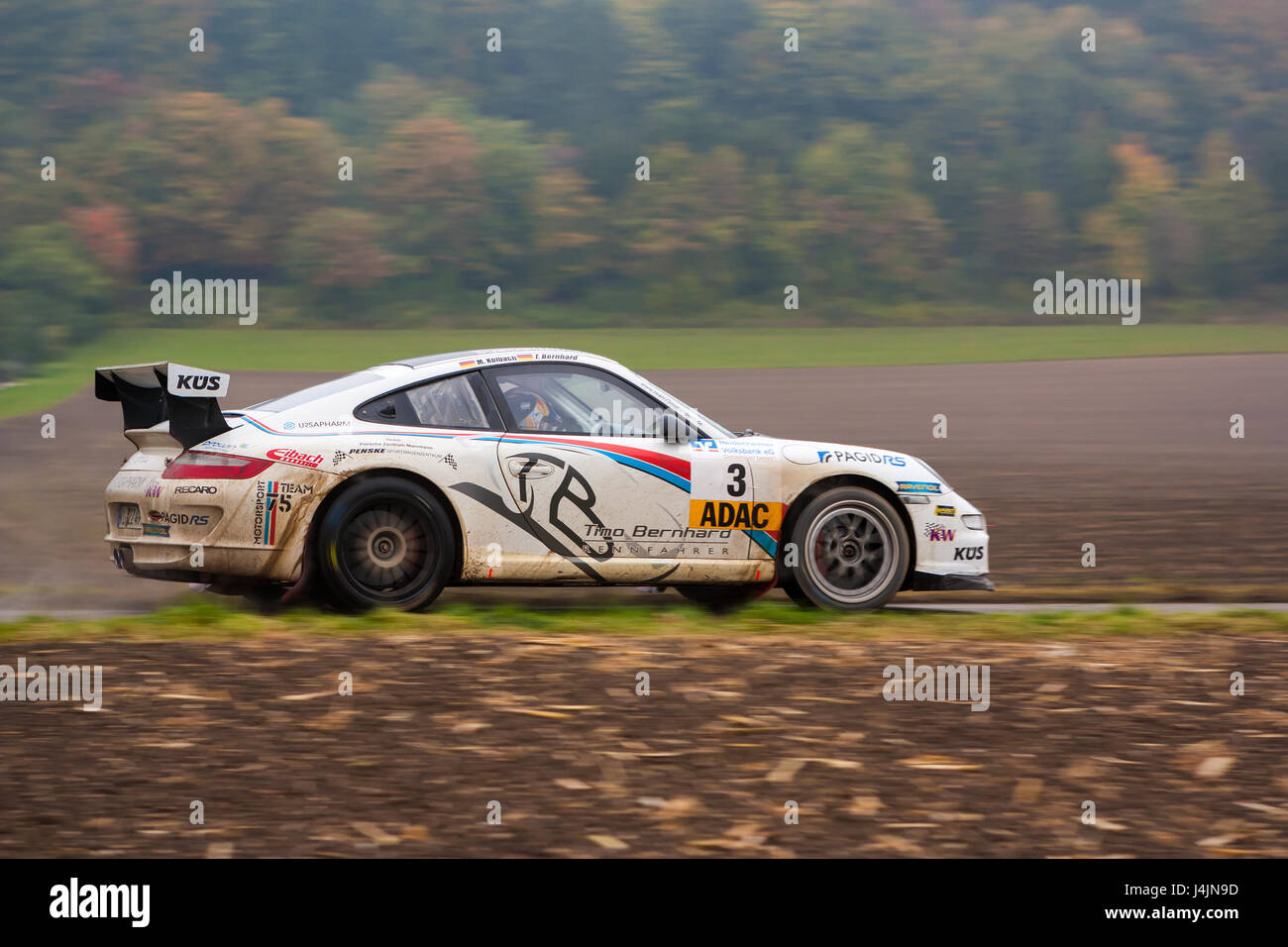 FLEINHEIM, GERMANY – OCTOBER 5, 2013: Timo Bernhard and Michael Kölbach driving their Porsche 911 GT3 at the - Stock Image