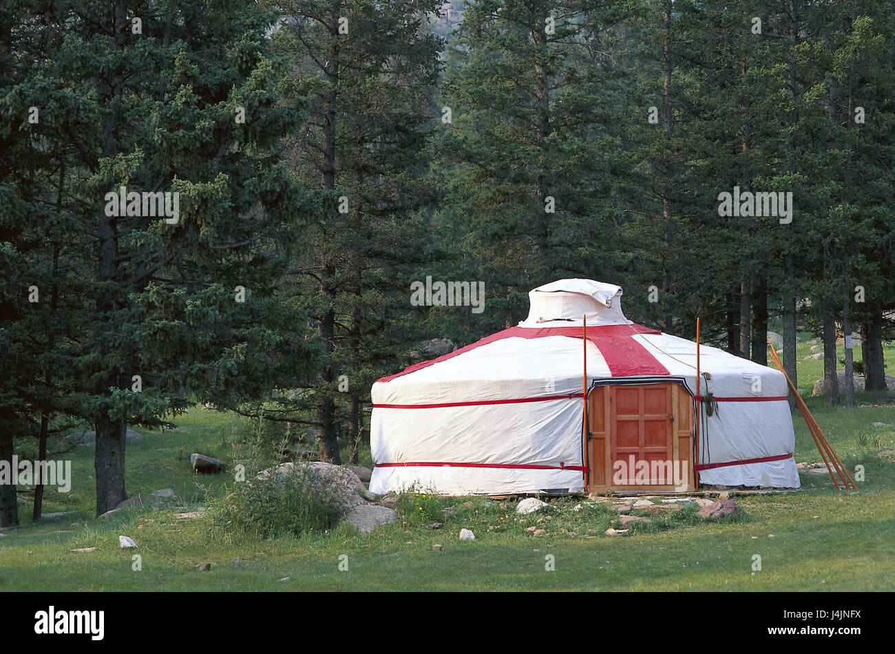 Mongolia, province of Tov, cloister of Manshir, edge of the forest, Jurte Central Asia, wood, Ger, tent, round tent, - Stock Image