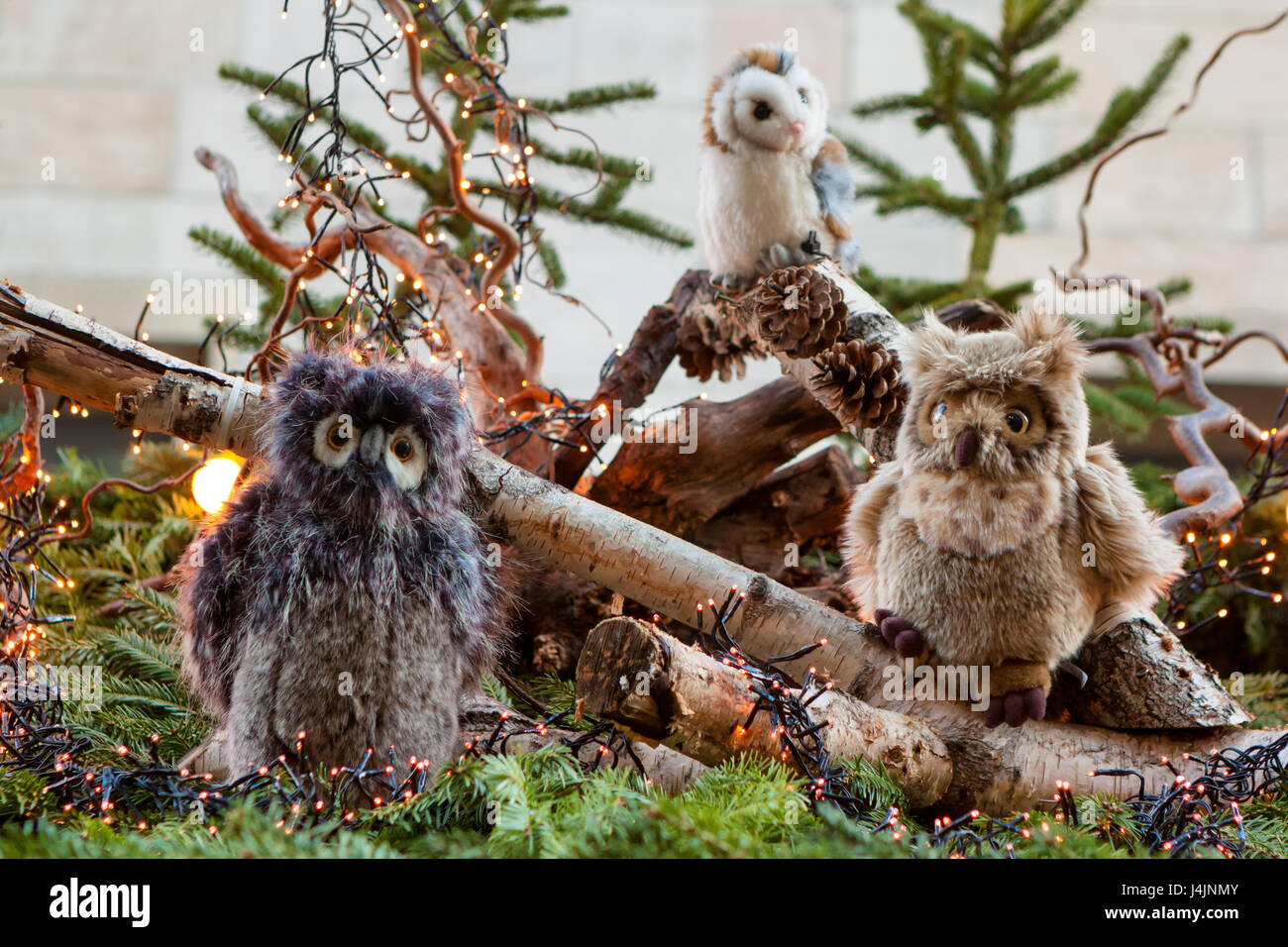 Weihnachtsmarkt Owl.Stuttgart Germany December 3 2016 Stuffed Plush Owls And Pine