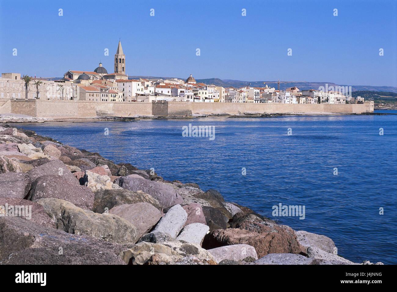 Italy, Sardinia, Algehero, town view, church Europe, the Mediterranean Sea, island, northwest coast, town, houses, - Stock Image