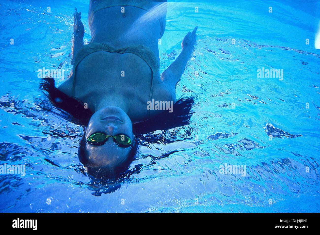 Swimming Pool Underwater Recording Woman Swim Under Water Pool