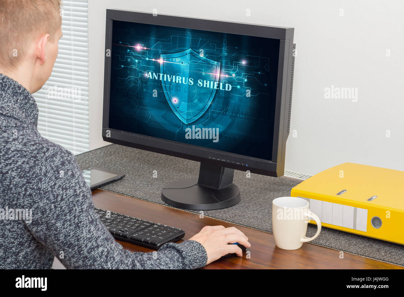 man with antivirus system - Stock Image