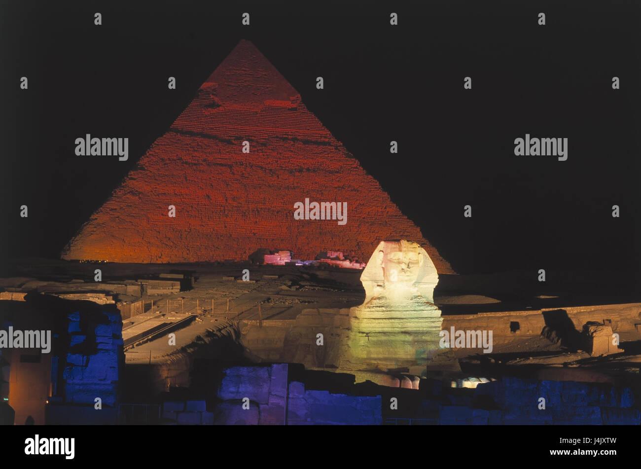 Egypt, Gizeh, pyramids, sphinx, illuminateds, night outside, Africa, East, Giseh, Gise, Giza, Al-Giza, El-Giseh, - Stock Image