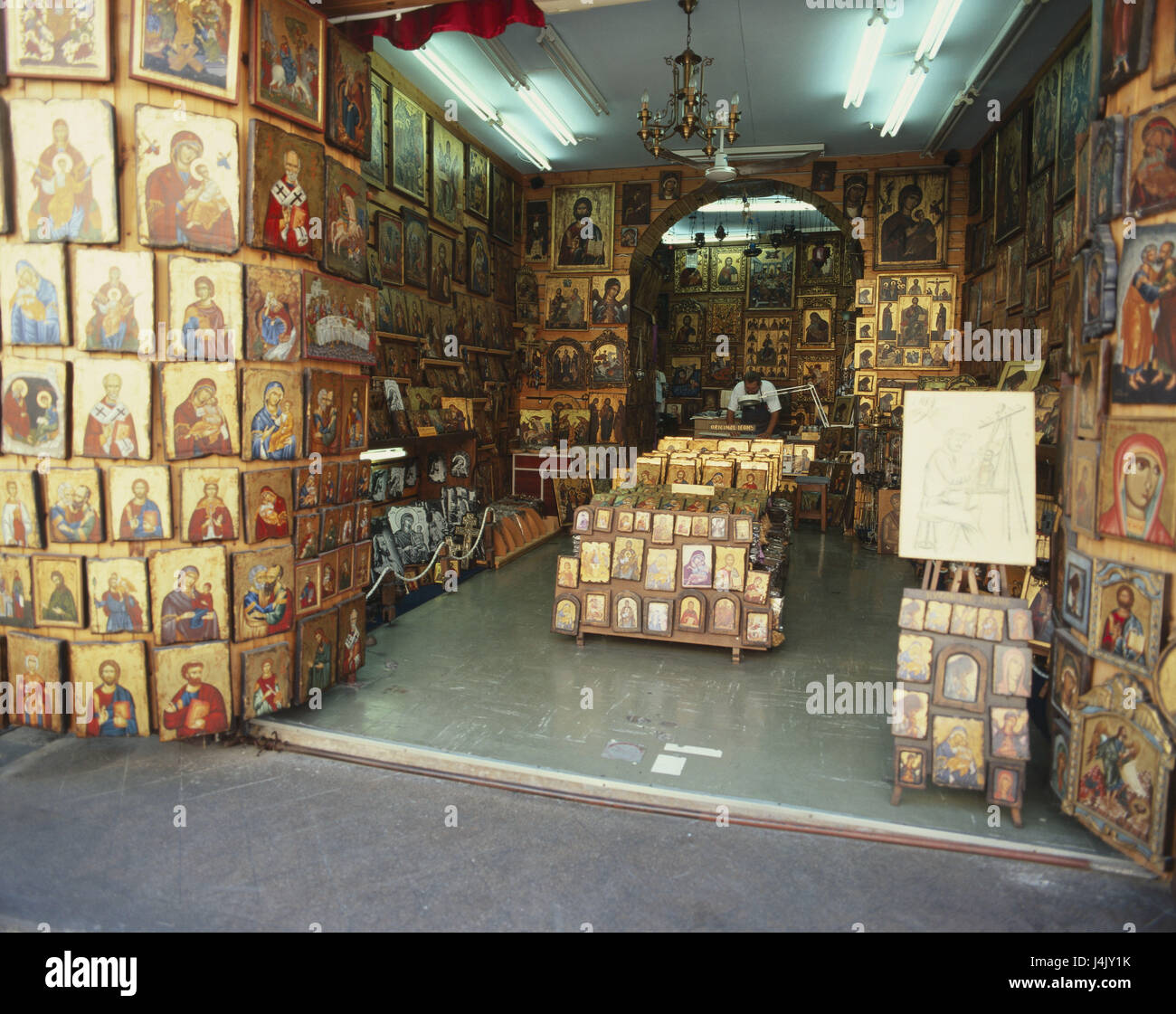 Greece, Rhodes, Rhodes town, shopping street 'Sokratous', business, sales, icons Europe, Dodekanes, island, - Stock Image