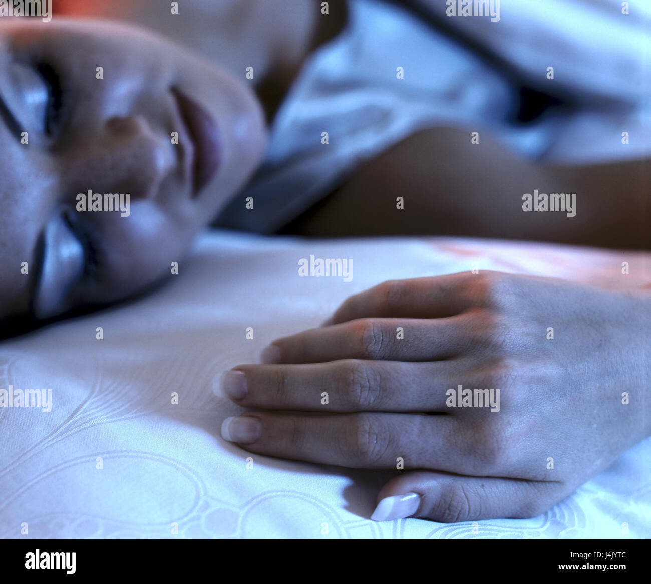 Bed, woman, sleep, relax detail bedroom, sleep, fatigue, tiredly, depletion, détente, recover, rest, rest, - Stock Image