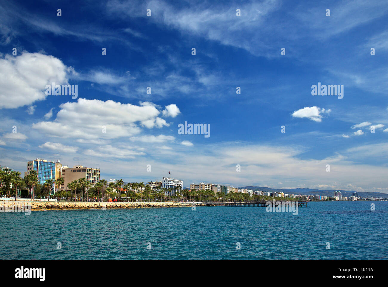 The seafront of Limassol (Lemessos) town, Cyprus. - Stock Image