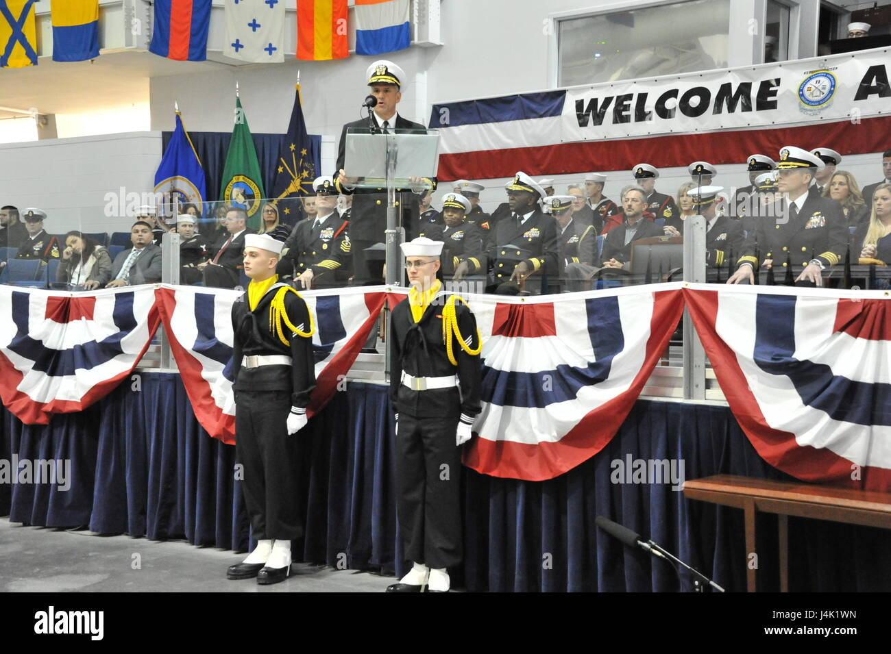 161216-N-CM124-342  Chief of Naval Personnel Robert P. Burke speaks to the guests at the Pass-In-Review ceremony - Stock Image