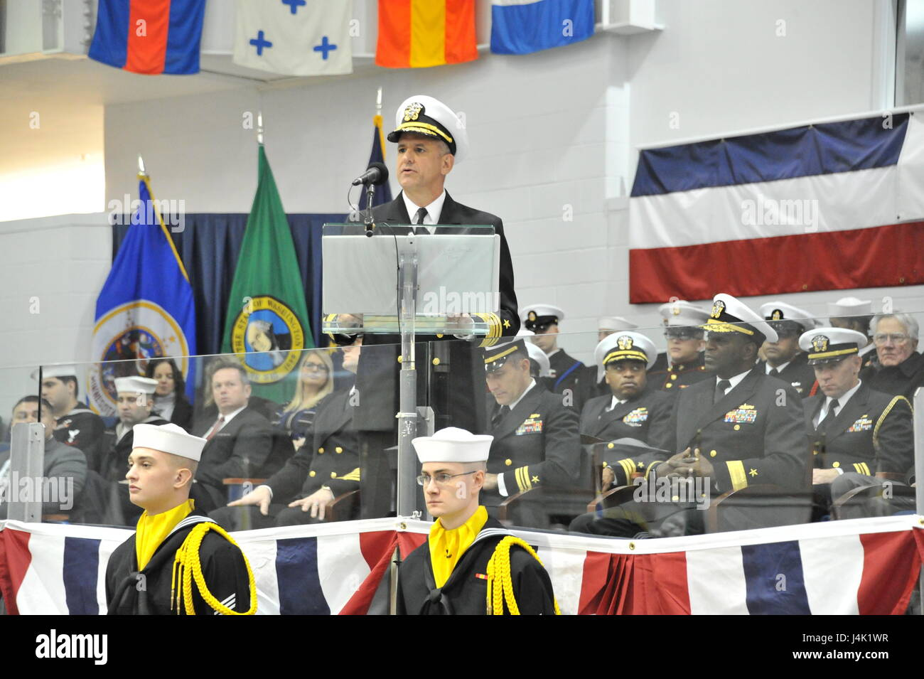 161216-N-CM124-353  GREAT LAKES, Ill. (Dec. 16, 2016) Chief of Naval Personnel Robert P. Burke speaks to the guests - Stock Image