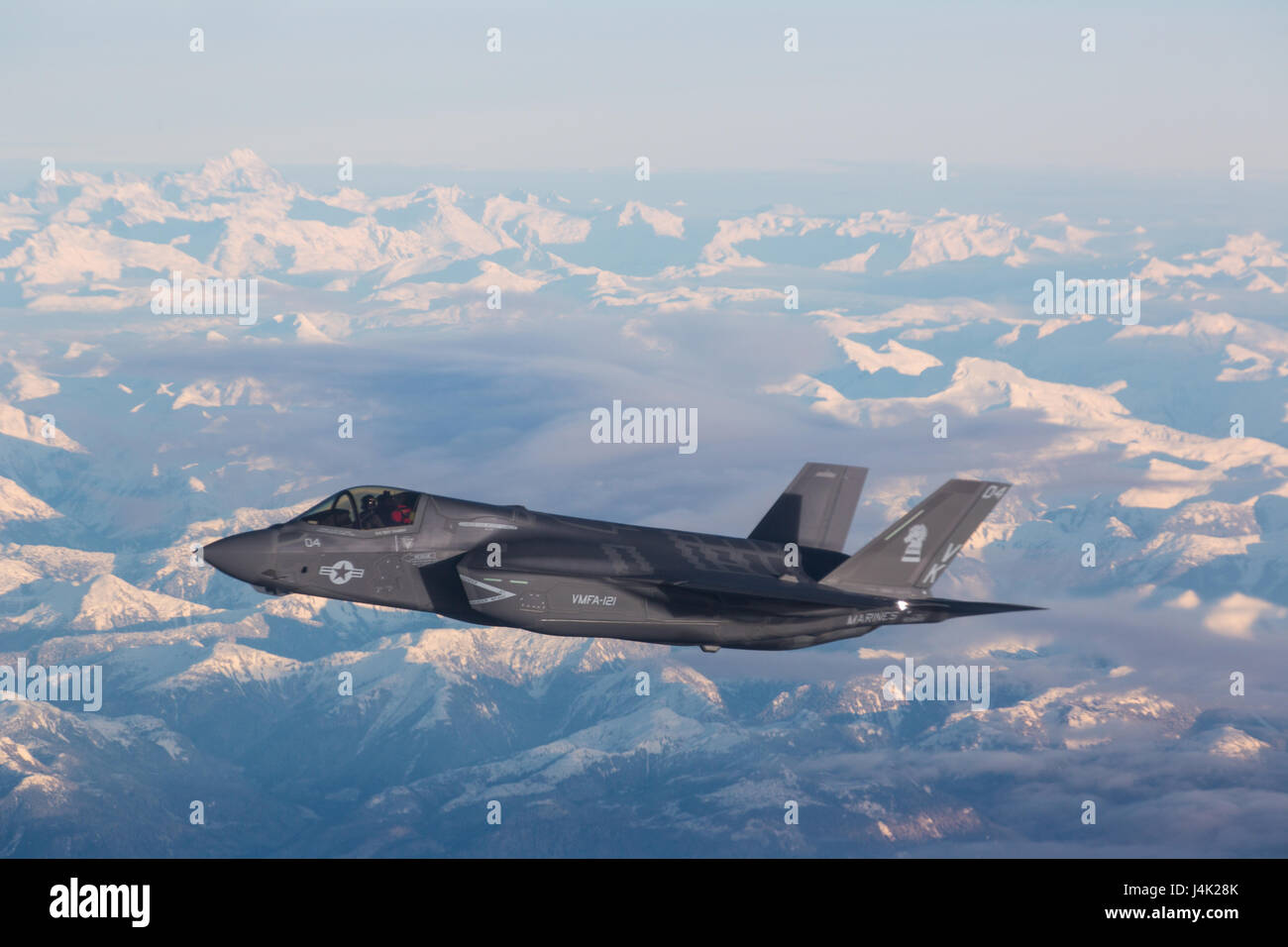 NORTH PACIFIC OCEAN—Marine Corps F-35Bs from Marine Fighter Attack Squadron (VMFA) 121, 3rd Marine Aircraft Wing, Stock Photo