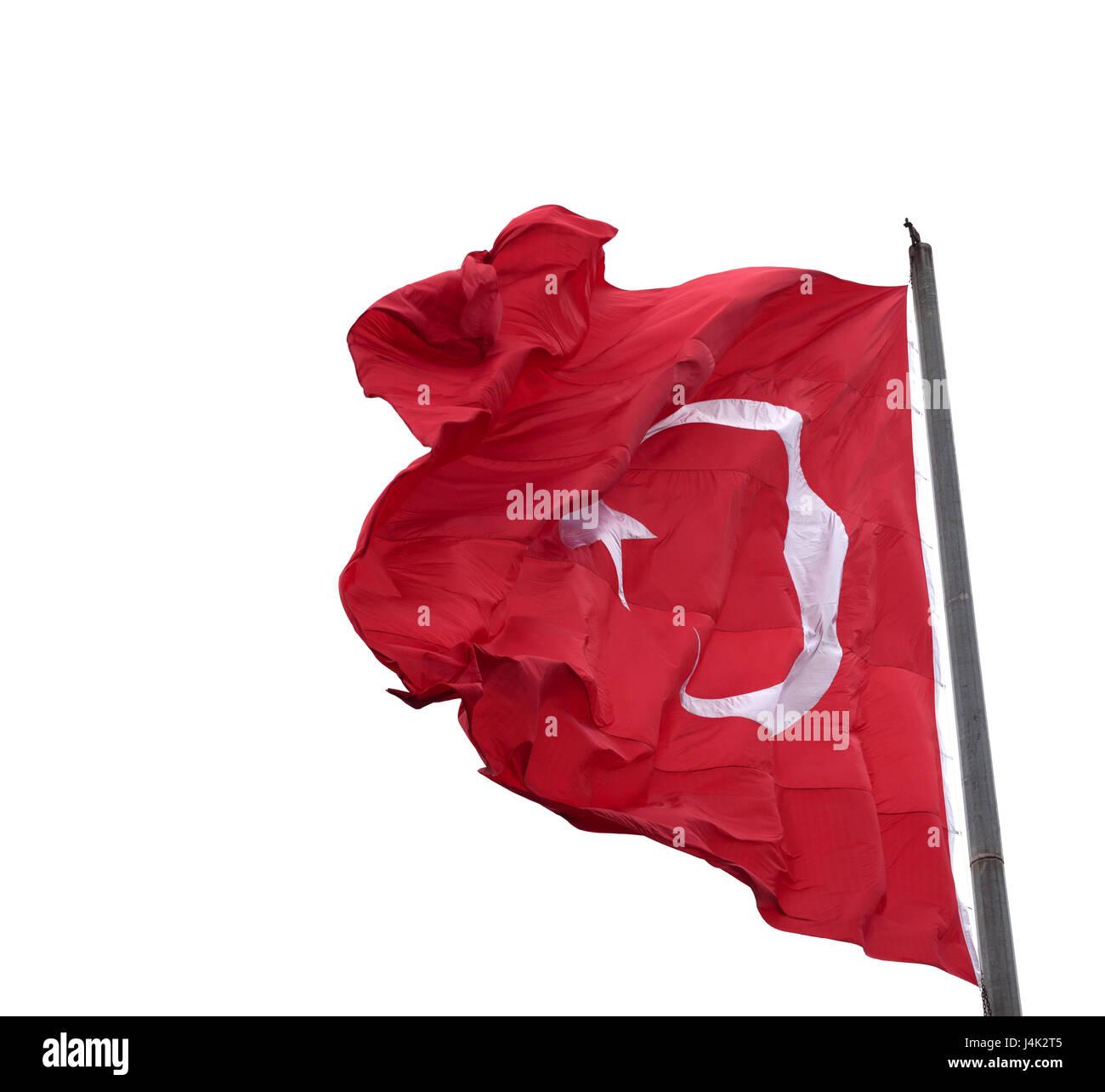 Waving in wind flag of Turkey on flagpole. Isolated on white background. - Stock Image
