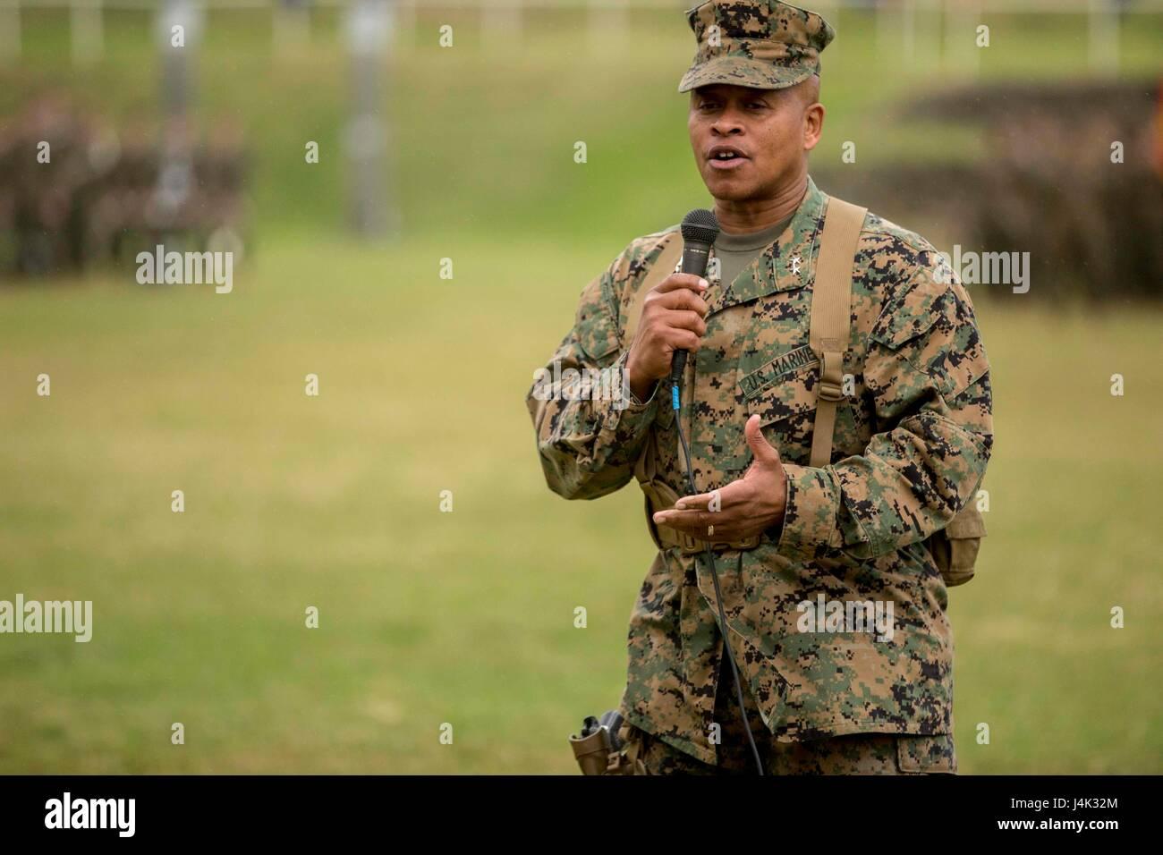 U.S. Marine Corps Maj. Gen. Craig Q. Timberlake, 3rd Marine Division commanding general, speaks during a change Stock Photo