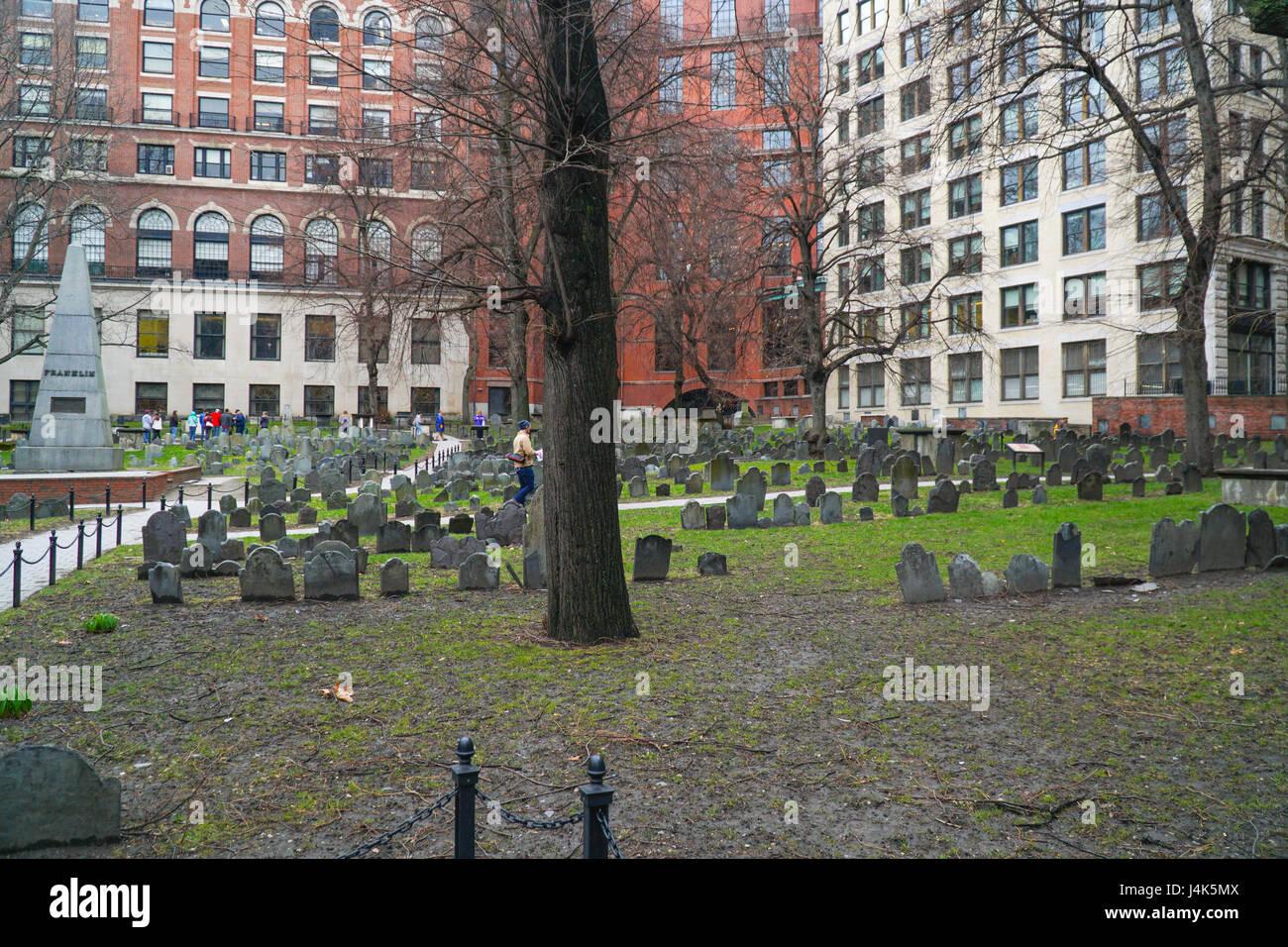 Granary Burying Ground in Boston - BOSTON , MASSACHUSETTS - Stock Image