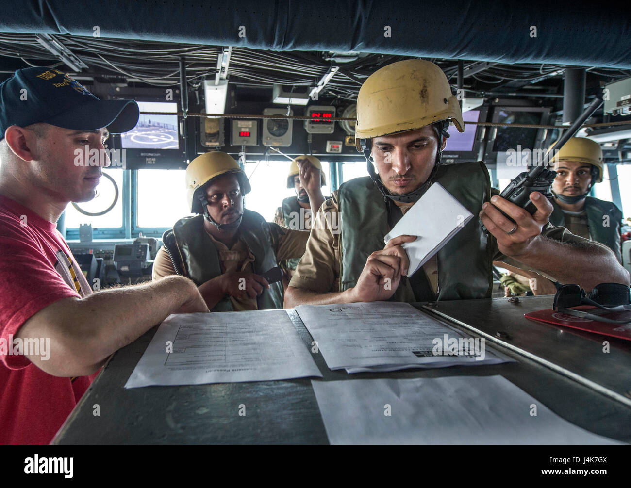 ARABIAN GULF (May 3, 2017) Royal Saudi Navy Sailors participate in visit, board, search and seizure (VBSS) training - Stock Image