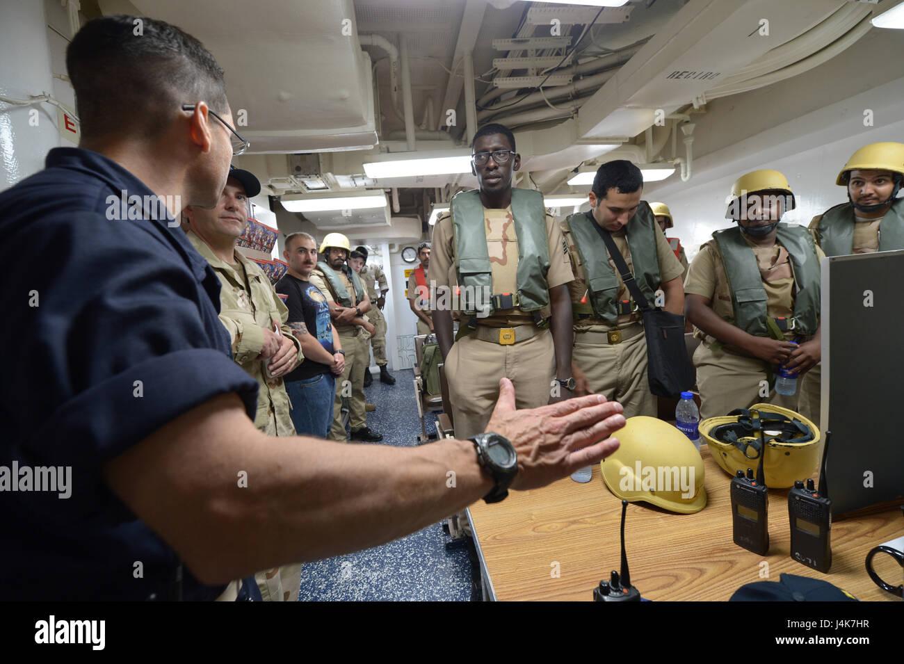 {170503-N-VC432-0102} ARABIAN SEA, Saudi Arabia (May 03, 2017) – Cdr. Mark Davis, USS Mahan (DDG 72) Commanding - Stock Image