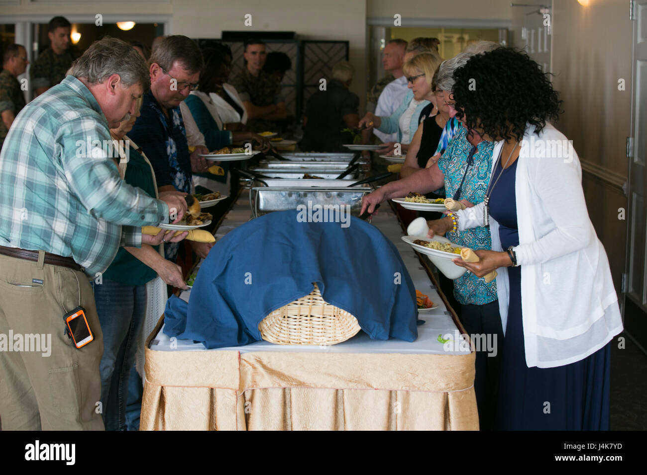 Attendees go through the lunch buffet during the National Day of Prayer celebration on Marine Corps Air Station - Stock Image