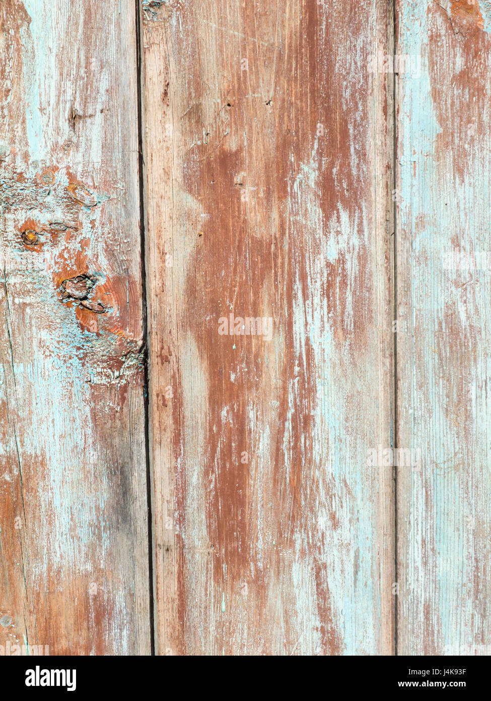 Wooden brown and blue painted planks vertical background - Stock Image