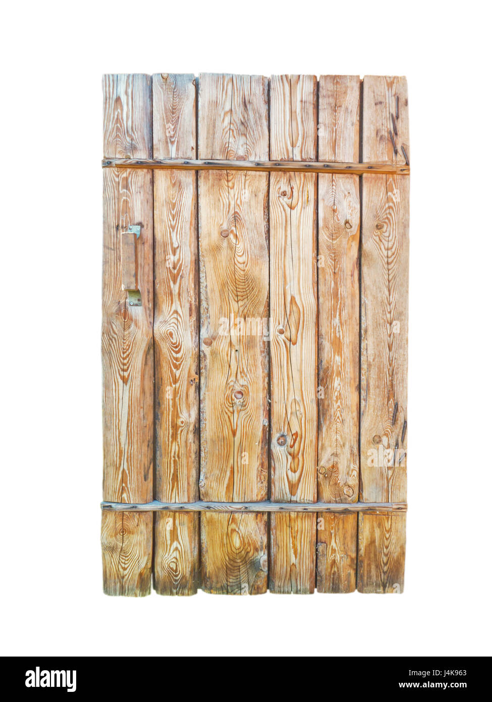 Wooden textured planks door with cracks and holes isolated on white - Stock Image