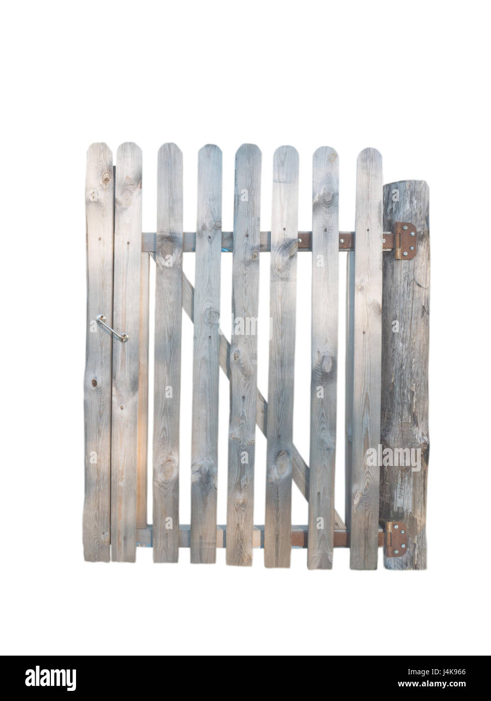 Wooden planks door in garden fence isolated on white - Stock Image