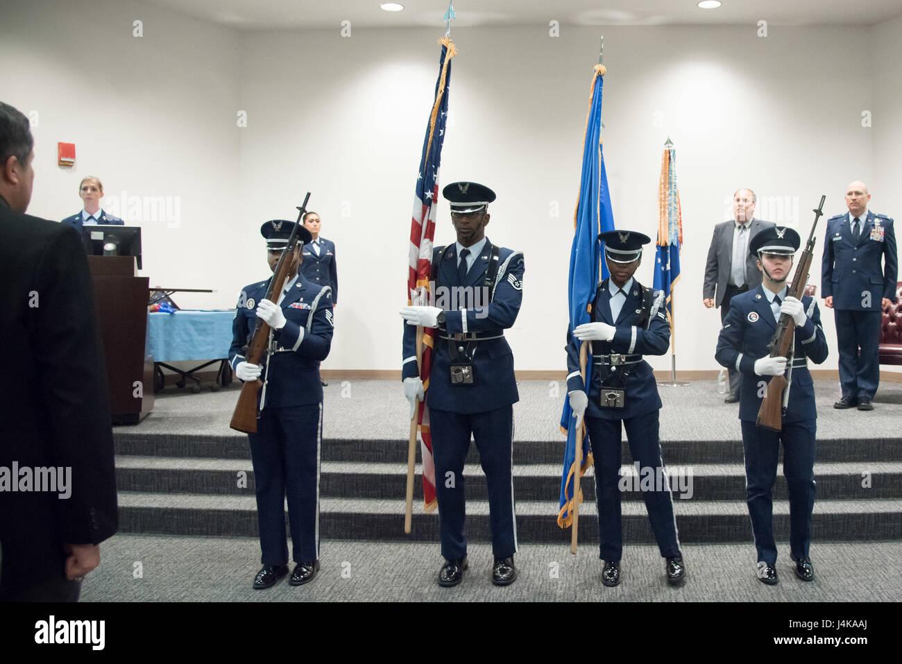 Keesler Air Force Base Honor Guard members present the