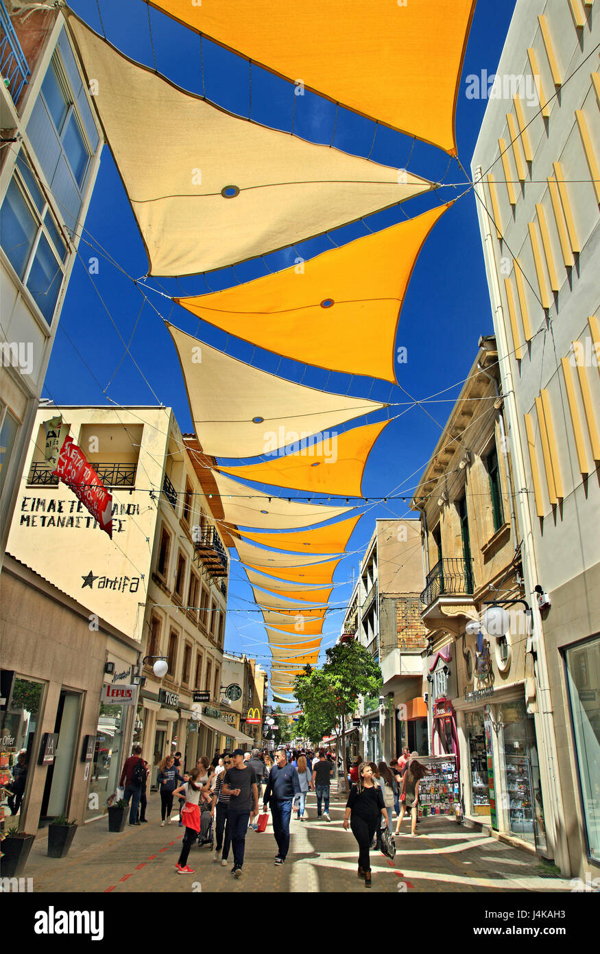 Ledra street, connecting the 2 sides of Nicosia (Lefkosia) the last divided capital of the world. - Stock Image