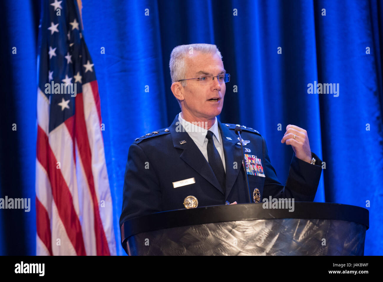 U.S. Air Force Gen. Paul J. Selva, Vice Chairman of the Joint Chiefs of Staff, delivers a keynote speech during - Stock Image