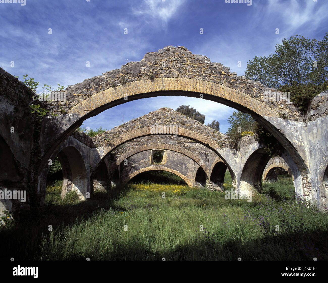 Greece, Corfu, Gouvia, dockyard, Venetian, ship halls Europe, Ionian islands, island, ship houses, 18 cent., curves, - Stock Image