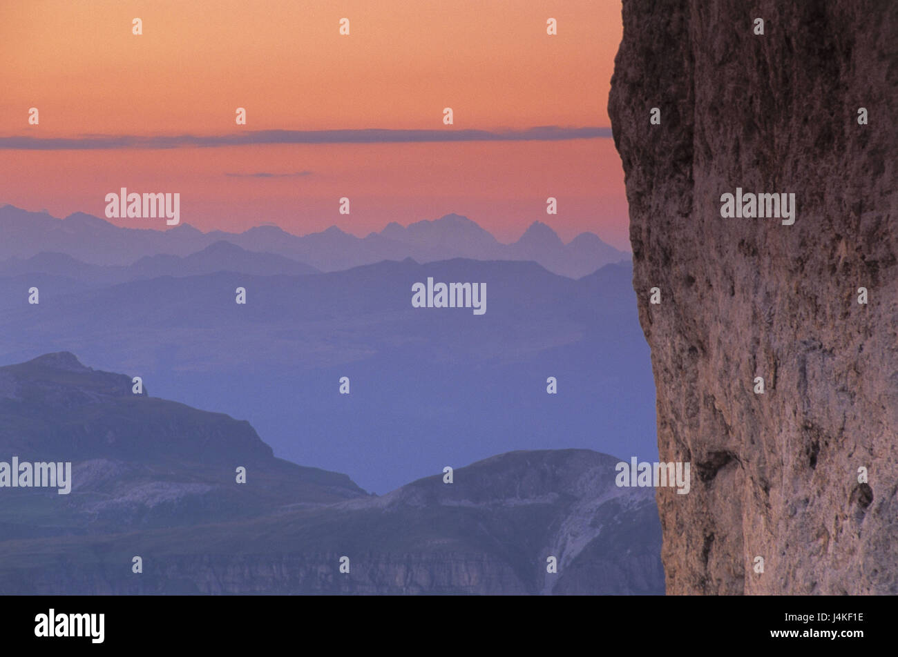 Italy, South Tirol, the Dolomites, rose garden, king Laurin wall, detail, view, mountaintop, evening mood Europe, - Stock Image