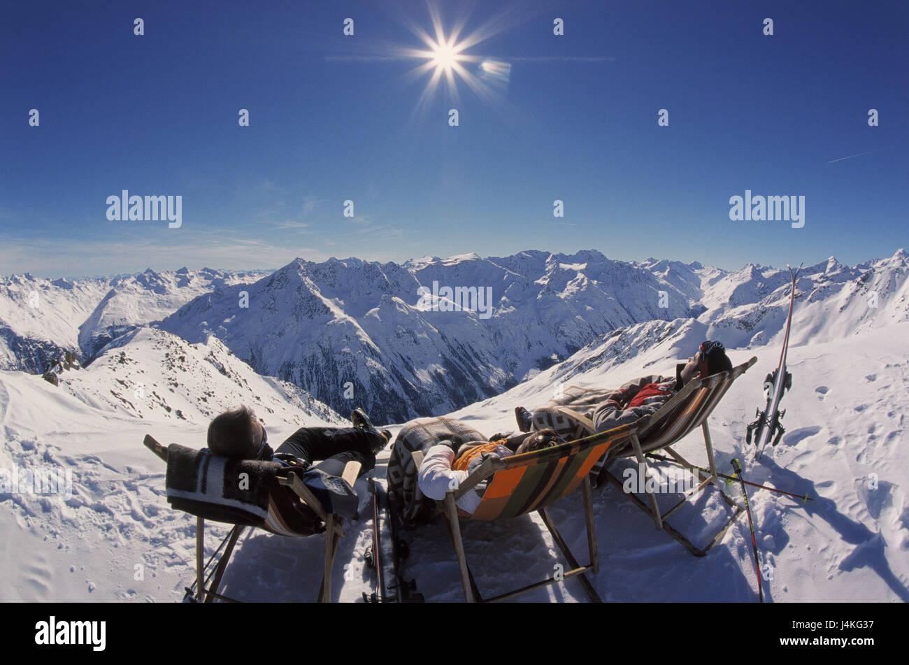 Austria, Tyrol, Ötztaler Alps, Gaislachkogel, Skiers, Deck Chairs, Take It  Easy Europe, Central Alps, Alps, Mountain Landscape, Mountains, Skiing  Area, ...