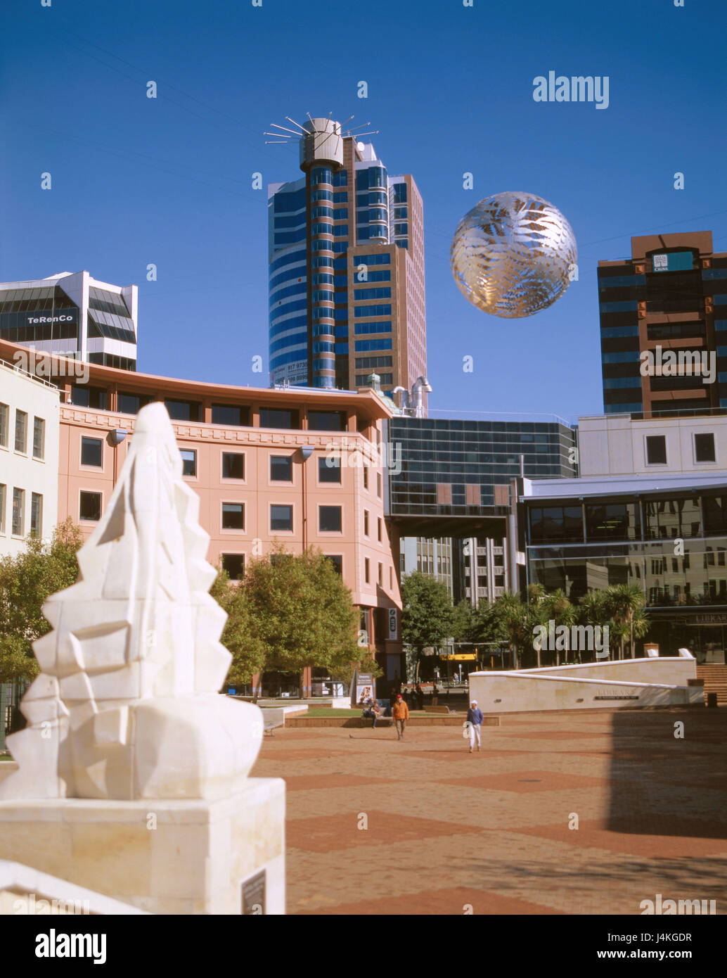 New Zealand, north island, Wellington, Civic Square, 'Silver of ball' island, New Zealand, town, capital, - Stock Image