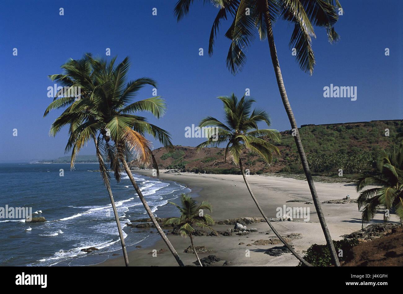 India, Goa, Vafator Beach, beach overview Asia, South Asia