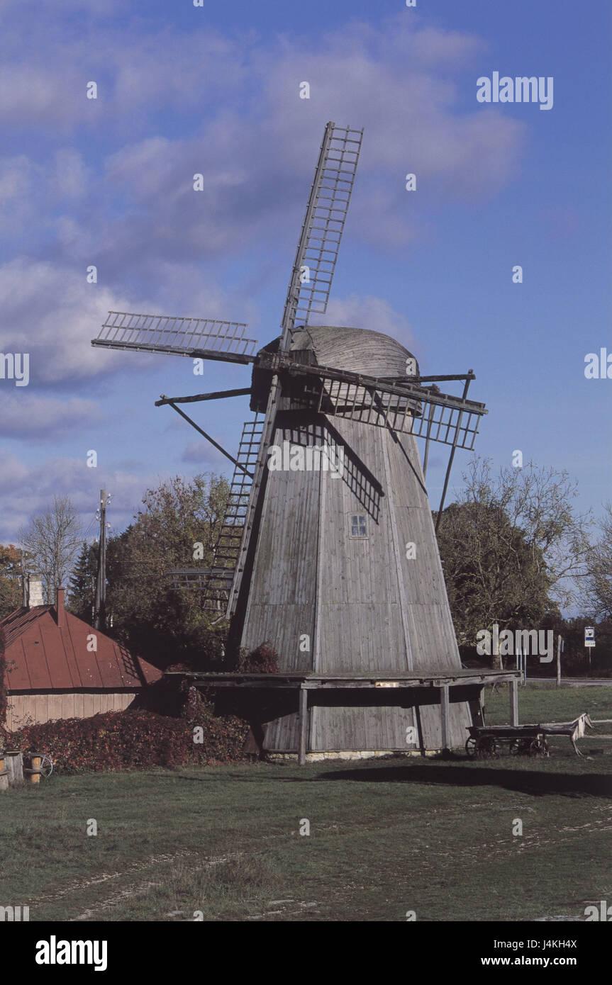 Estonia, island Saaremaa, Angla, windmill, autumn Europe, Nordosteuropa, the Baltic States, Eesti Vabariik, Rigaer - Stock Image