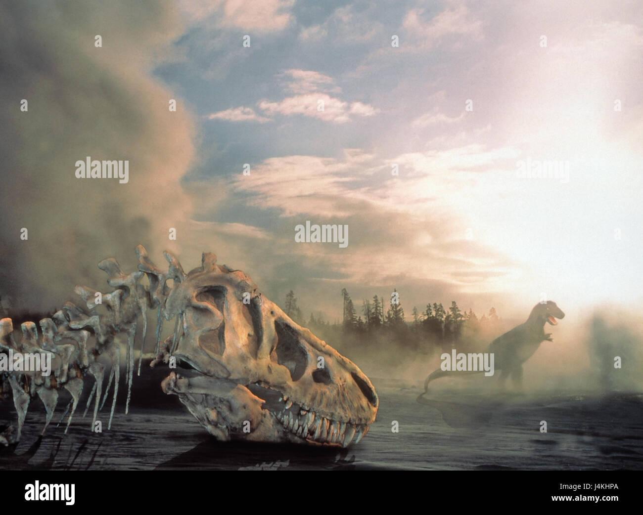 Scenery, simulations, dinosaurs, dinosaur skeleton, fog primeval times, primordial animals, prehistorically, wood, - Stock Image