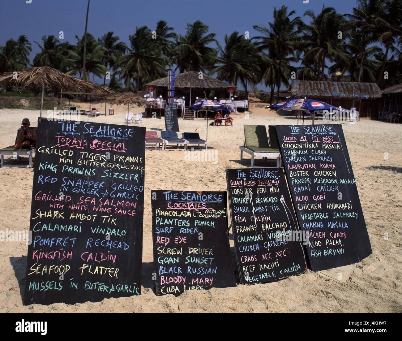 India, Goa, Colva, beach, menus gastronomy, palm beach, menu, drink card - Stock Image