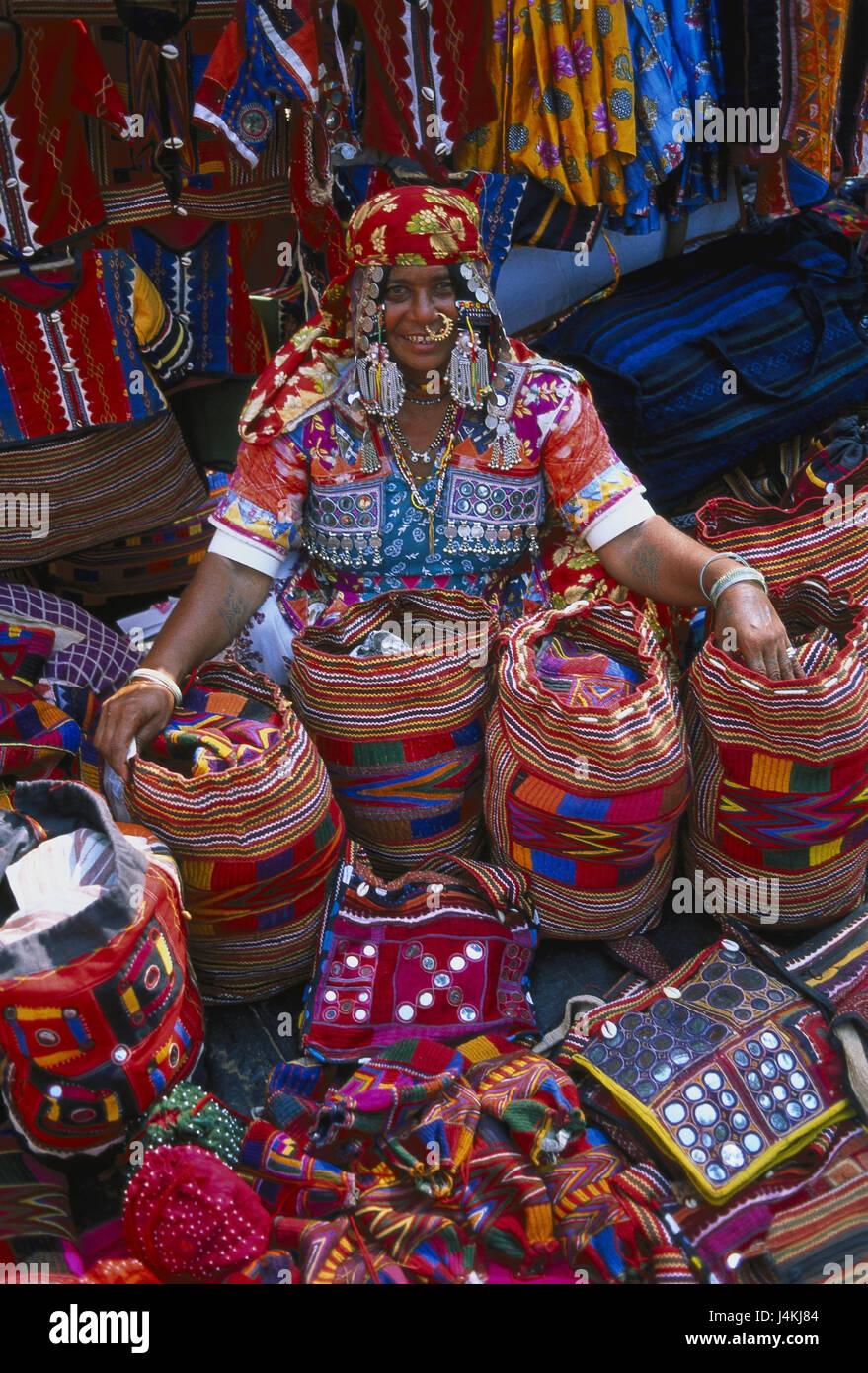 India Goa Anjuna Market Woman Sales Textiles Handicraft Asia