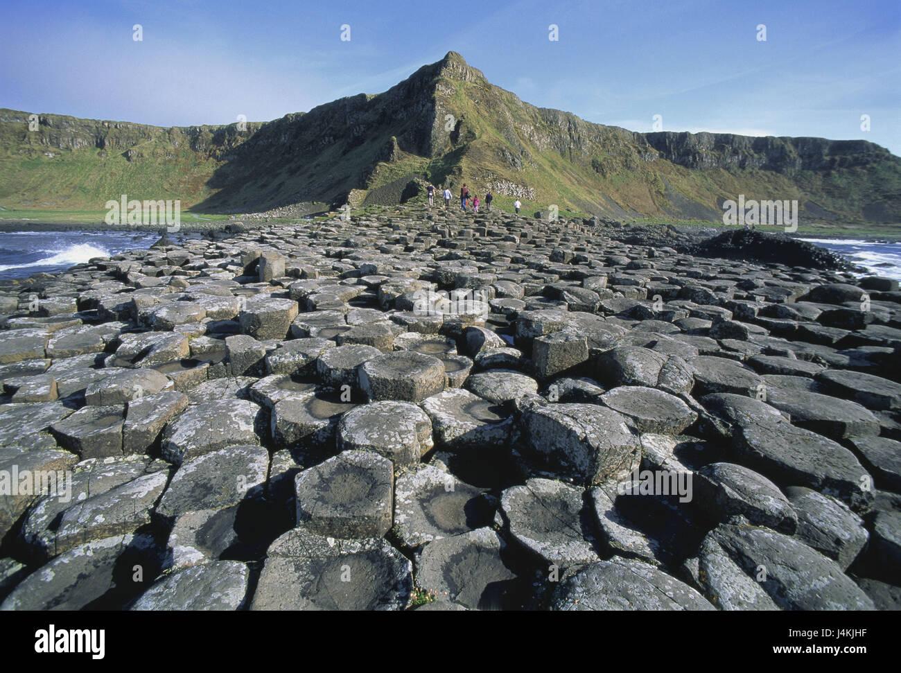 Northern Ireland, county Antrim, bile coast, Giant's Causeway, tourist Ireland, Northern Ireland, coast, basalt, Stock Photo