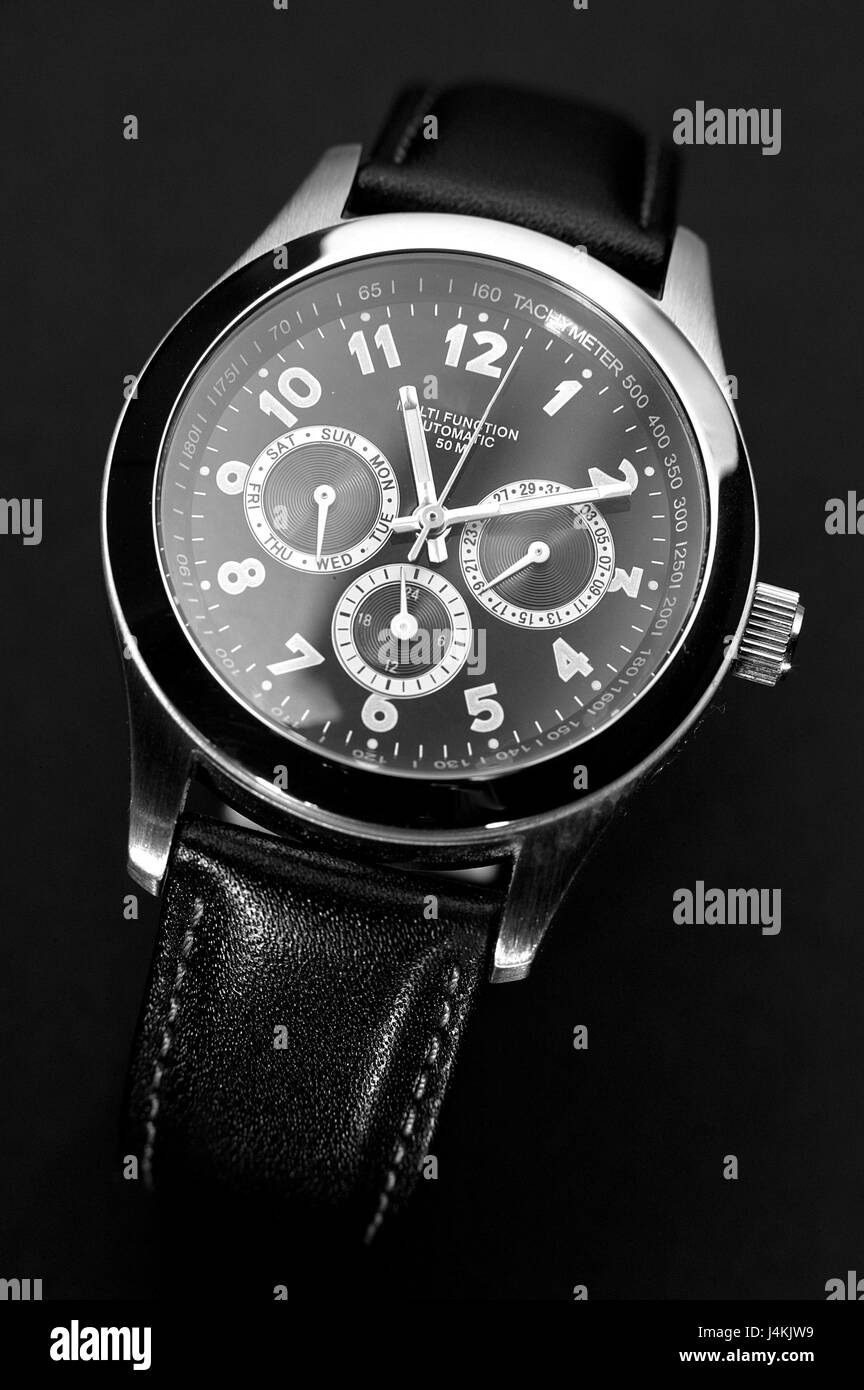 still life, wristwatch object photography, clock, Lord's clock, chronograph, nobly, black, dial, pointer, time, - Stock Image