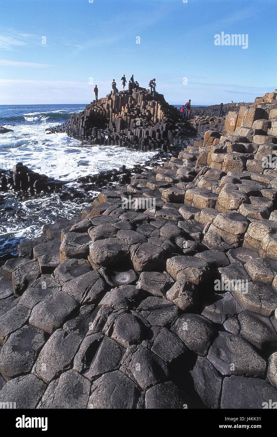 Northern Ireland, county Antrim, bile coast, Giant's Causeway, basalt pillars, tourists, sea Europe, Western Europe, Stock Photo