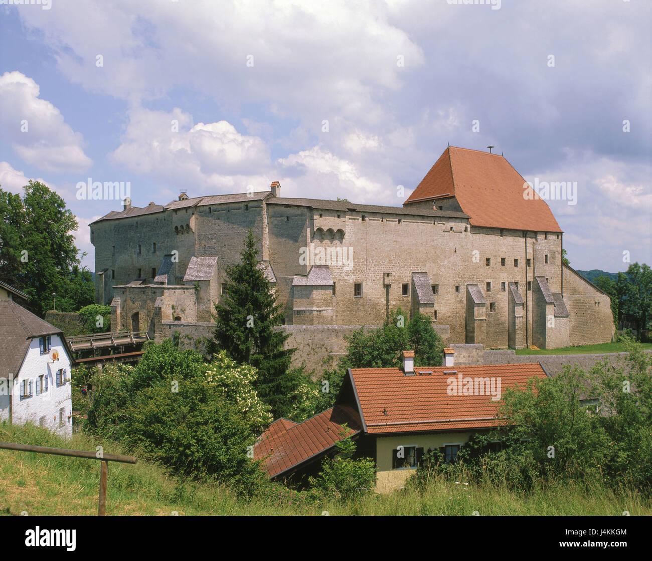 Germany, Bavaria, Tittmoning, castle Europe, Upper Bavaria, town, place of interest, architecture, building, 13. Stock Photo